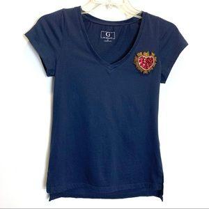Sale🎈G by Giuliana Rancic Heart Navy  T-shirt